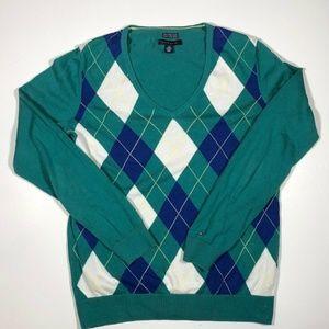 TOMMY HILFIGER  V Neck Pullover Sweater Long Sleev